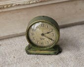 Westclox Tiny Tim clock - green - 1920s - crackled finish