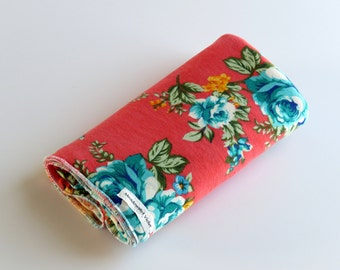 Large Cotton Jersey Knit Baby Swaddle/Receiving Blanket - Girl - Teal Blue Roses on Coral Pink