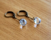 Button Earrings - Antique Tiny Faceted Paperweight Ball Button Dangle Drops