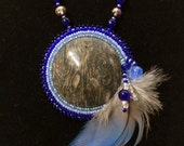 beaded cabochon necklace rhyolite and agate stone