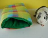 Plaid guinea pig tunnel, guinea pig fleece bedding