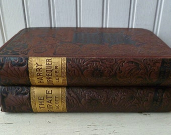 The Pirate by Sir Walter Scott & Harry Lorrequer by Charles Lever. Vintage Antique 1800s. Set 2 Books. Caxton Edition. Black Brown.