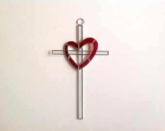 Red Heart Stained Glass Cross/Suncatcher