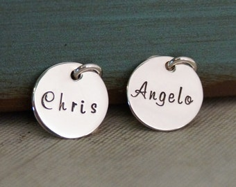 Hand Stamped Mommy Jewelry - Personalized Charm - One Mini Flat Name Tag