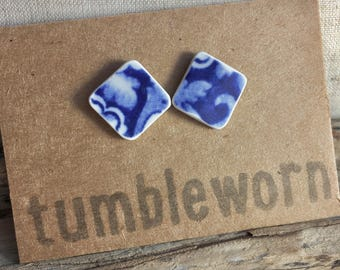 Tumbled China Ear Studs - Blue and White - home-made sea pottery, sterling silver - Tumbleworn