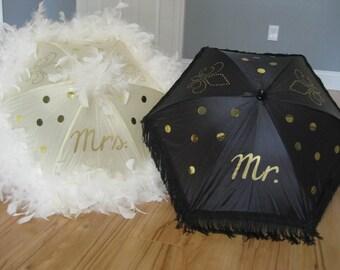 Second Line Wedding Umbrella Mr. Mrs. Authentic New Orleans- set of 2 MEDIUM Parasol Sized Cream Ivory Champagne White Black Fringe Feather