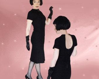 Black Pencil Dress - Bodycon Dress - 50s Vintage Little Black Dress - Minimalist Dress - Sheath Dress - Knee Length Dress with Back Interest