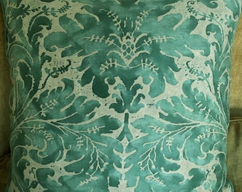 1 Mariano Fortuny Cotton Fabric Custom Designer Throw Pillow Lucrezia Teal Beige 2 Available