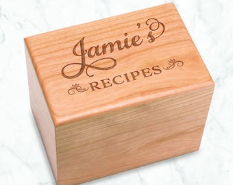 Personalized Cherry Recipe Box Swirl Name Engraved - Kitchen Bridal Shower 4x6 inch recipe cards