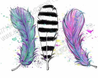 INSTANT DOWNLOAD 3 Whimsical Feathers Digital Stamp - Image No.371 by Lizzy Love