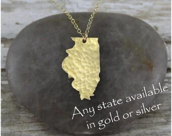 Gold Illinois Necklace - Gold Illinois State Necklace - Gold Illinois Pendant - Going Away Gift - Bridesmaid Gift