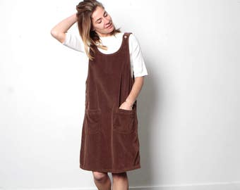 90s BROWN corduroy JUMPER overall OXFORD  brand overall dress skirt romper