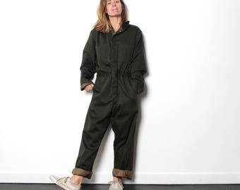 olive green JUMPSUIT overalls coveralls mid century auto mechanic vintage