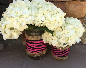 Mason Jar Wrap, Pink Zebra Print & Burlap Mason Jar Decoration, Baby Shower, Party, Wedding Decoration