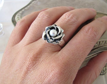 3D Pearl Rose Sterling Silver ring, size 7