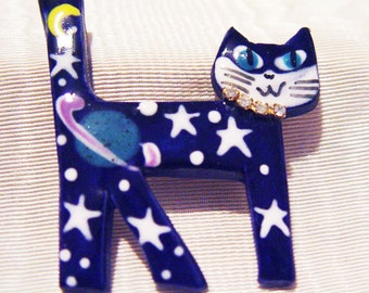 Cosmic Cat Pin-Cobalt Blue Ceramic Rhinestone-Moon Stars