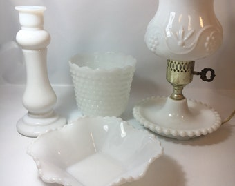 Hobnail milkglass  bedroom lamp accessories collection lot