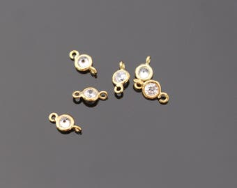 Gold Small round crystal Stone bead, clear cz connector, petite Clear Stone pendants, Gemstones, Beads, 4 pc, L818537