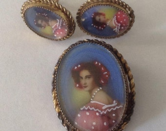 Vintage Hand Painted Portrait Pendant & Earrings Suite FREE SHIPPING