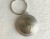 Earth Map Locket Keychain,  silver men's groomsmen vintage key chain globe photo antique travel adventure unisex birthday gift for men gifts