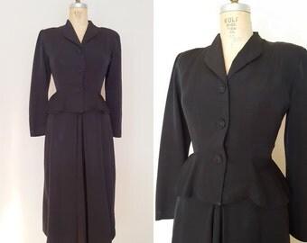 Vintage 1940s Skirt Suit / Black Peplum Suit / Rayon Suit / Small