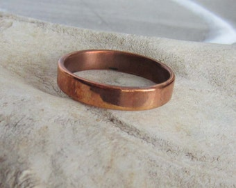 copper ring, natural copper band, polished copper jewelry unisex simple jewelry, solid copper men's copper ring, women's copper ring