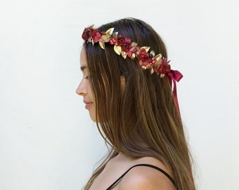 Christmas Flower Crown, Gold Leaf Crown, Holiday Headpiece, NYE Headpiece, Gold Crown, Christmas Flower Crown, Floral Crown, Winter Crown