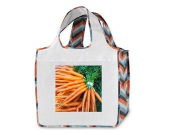 Farmers Market Carrot Orange Chevron Stripe Reusable Shopping Bag