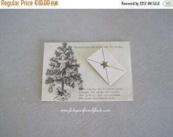 SALE Antique French Catholic Religious Christmas Card Surprise Under the Christmas Tree Ave Maria Paris
