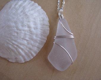 Purple Sea Glass Pendant Wire Wrapped Beach Glass Necklace Sea Glass Jewelry