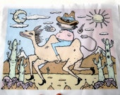 Full color back patch cowboy in the desert