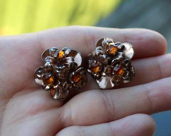 Vintage Sterling Silver Rhinestone Flower Earrings
