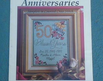Anniversaries, Samplers in Counted Cross Stitch, Dakota Cross Stitch, 15 Page Pattern Book, 7 Personalized Anniversary Patterns, OFG