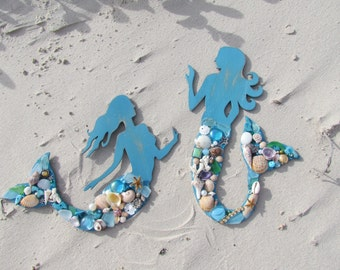 Set of Wood Mermaids with Seashells, Sea Glass, Beads and Jewels