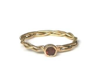 18k Gold Braided Ring with Garnet or Gemstones