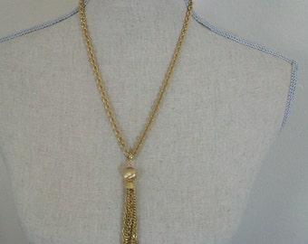 Vintage tassel necklace, gold tone necklace, pendant necklace, chain necklace