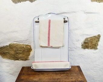 French white enamelware utensil rack holder Enamel kitchen decor tea towel soap holder small room bathroom toilet