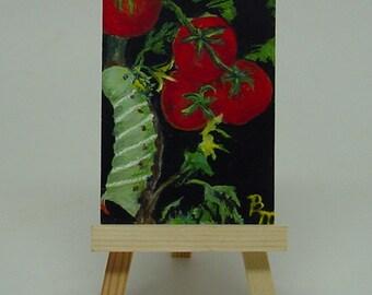 Aceo Original Painting  Caterpillar Hornworm