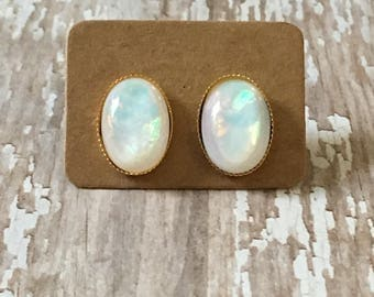 Nickel free!  Gorgeous faux opal studs