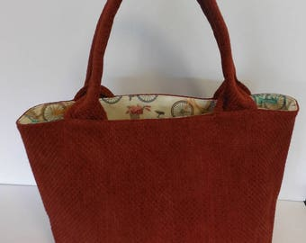 Bucket Bag; Shoulder Bag; Handbag; Rust Tweed Bag