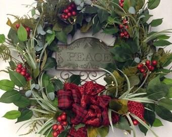 Holiday Wreath-Christmas Wreath-Peace Sign-Christmas Decoration-Holly Wreath-