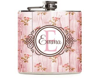 Floral Pink Wood Flask, Personalized Monogram Flask for Women, Bridesmaids Flask, Custom Stainless Steel 6oz Hip Flask