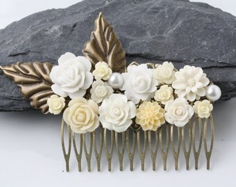 Bridal hair comb, Floral comb, headpeice, flower hair comb, ivory hair comb, vintage hair comb, rustic wedding hair accessories, gift