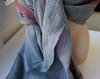 Turkishtowel-2017 Collection-Hand woven,cotton warp,lambswool weft Shawl-Very warm,lovely-Greyish blue and beige weft