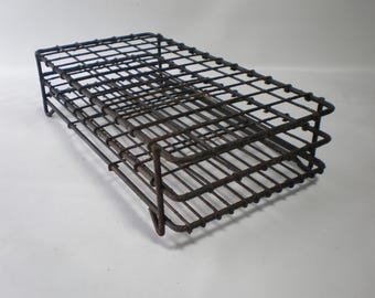 Vintage Laboratory Black Covered Wire Test Tube Rack