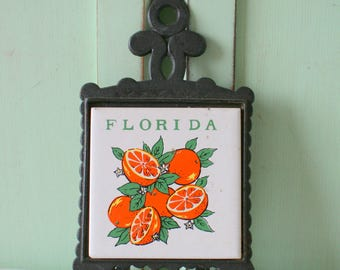 Vintage FLORIDA Spoon Rest..kitschy. cute. coaster. trivet. mod. retro home. gift. housewarming. mod home. 1970s home. orange fruit. florida