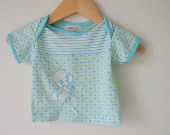 1980s BLUE SQUIRREL Kids Top...size 3 months...bright. pastel. children. tee. sweater. pull over. top. retro. bear. animal. baby girl gift