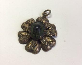 Antique Victorian Genuine Egyptian Scarab Brass Hearts Pendant