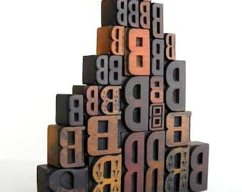 40% OFF - Vintage Letterpress 28 Wooden Alphabet - B Collection - LP64