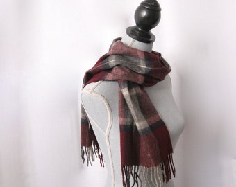 Cashmere Fringed Scarf, Burgundy Plaid, Made in West Germany